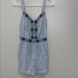 Navy Blue/ white striped romper WITH pockets